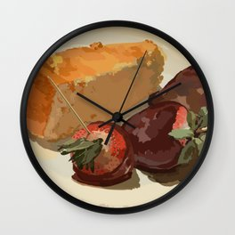 Cheesecake Souffle and Chocolate Strawberries Wall Clock