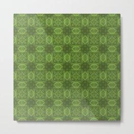 Greenery Geometric Floral Metal Print
