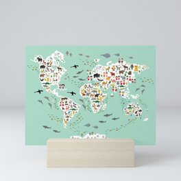 Cartoon animal world map for children and kids, back to schhool. Animals from all over the world Mini Art Print