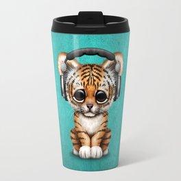 Cute Tiger Cub Dj Wearing Headphones on Blue Travel Mug