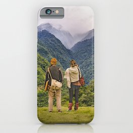 Young Backpackers at Top of Mountain, Banos, Ecuador iPhone Case