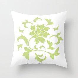 Oriental Flower - Daiquiri Green Circular Pattern On White Background Throw Pillow