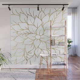 Gold faux foil chic floral elegant pattern Wall Mural