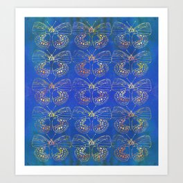 Butterfly Stacks on Blue Watercolor Pattern Art Print