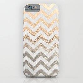 GOLD & SILVER CHEVRON iPhone Case