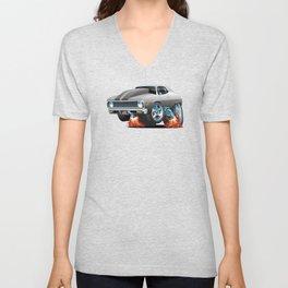 Classic American Muscle Car Hot Rod Cartoon Unisex V-Neck