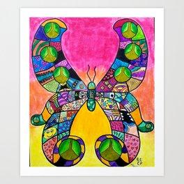 Rainbow Butterfly Intricate Art Print