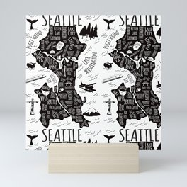Seattle Illustrated Map in Black and White - Repeat Mini Art Print