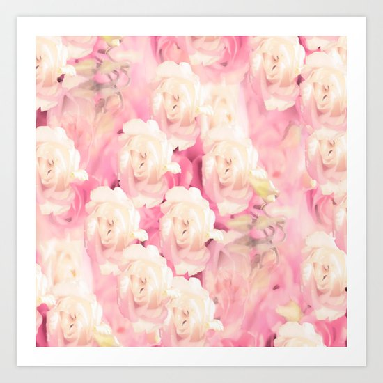 White and pink flowers in summer romance - vintage style Art Print