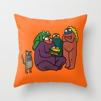 burger Throw Pillows featuring Burger by frogandfly