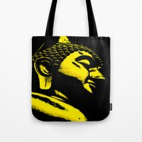 buddah Tote Bags featuring Buddah Head 01; Gold  by Kether Carolus