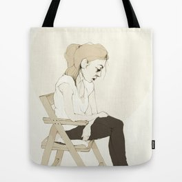 girl sitting Tote Bag