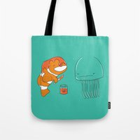 jellyfish Tote Bags featuring Jellyfish by Lili Batista