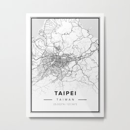 Taipei Modern Map Metal Print