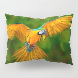 Flying Golden Blue Macaw Parrot Green  Art Pillow Sham