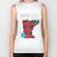 minnesota Biker Tanks featuring Minnesota Lumberjack by Sara Hynes Designs