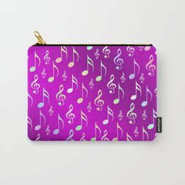 music, note, notes, ribbon, symbol, symbol, pink, purple, silver, pattern textile, fashion, trend, r Carry-All Pouch