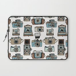 Hand drawn seamless pattern of old fashioned photo camera Laptop Sleeve
