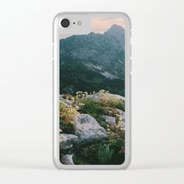 Mountain flowers at sunrise Clear iPhone Case
