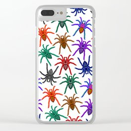 Spiders Colorful Halloween Tarantulas Pattern Clear iPhone Case