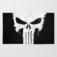 punisher Area & Throw Rugs featuring Punisher White by d.bjorn