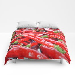 Market Fresh Red Chili Peppers Comforters