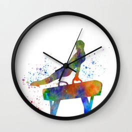 Jumping colt in watercolor, young sportsman Wall Clock