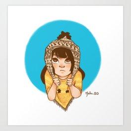 Poncho Girl Art Print