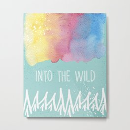 Into the Wild - Wild Heart Boho Watercolor Mountains Metal Print