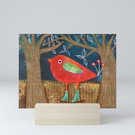 Red Bird in Galoshes Mini Art Print
