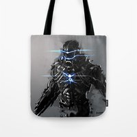 suit Tote Bags featuring Raven Suit by Benedick Bana