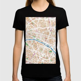 Watercolor map of Paris T-shirt