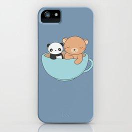 Kawaii Cute Brown Bear and Panda iPhone Case