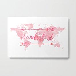 Wanderlust, pink watercolor, world map Metal Print