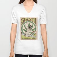 sloth V-neck T-shirts featuring Sloth by PsychoBudgie
