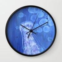 jelly fish Wall Clocks featuring Jelly Fish by Lise Dumas Richard