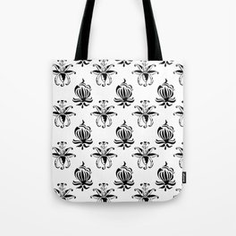 Vintage black white elegant floral damask Tote Bag