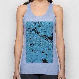 Amsterdam Turquoise on Black Street Map Unisex Tank Top