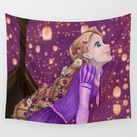 lanterns Wall Tapestries featuring Lanterns by Kimberly Castello