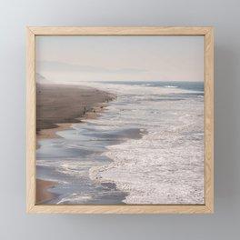 Ocean Beach, San Francisco Photography, From Above Art, Surfers, Pacific Ocean, California Art Framed Mini Art Print
