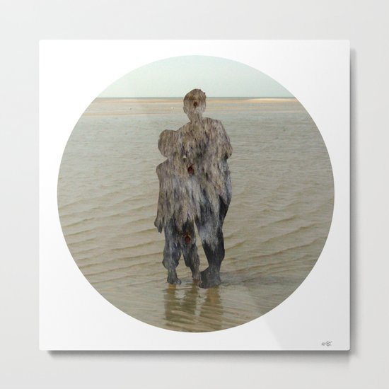 Sea Side Impression - Wood Collage Metal Print