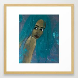 EVEN MY HAIR IS CRYING Framed Art Print