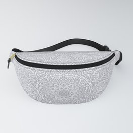 Most Detailed Mandala! Cool Gray White Color Intricate Detail Ethnic Mandalas Zentangle Maze Pattern Fanny Pack