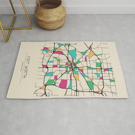 Colorful City Maps: Fort Worth, Texas Rug