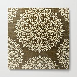 Damask Brown and Beige Fleur De Lis Paisley Vintage Pattern Metal Print