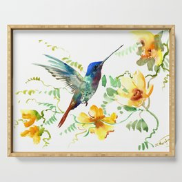 Hummingbird and Flowers, floral design Hawaiian tropical Serving Tray