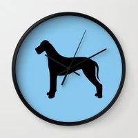 great dane Wall Clocks featuring Great Dane by Erin Rea
