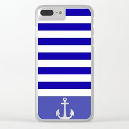 Blue And White Stripes Anchor Clear iPhone Case