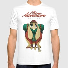 The Adventure Begins White Mens Fitted Tee MEDIUM