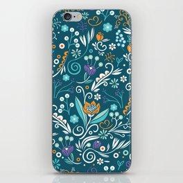 Flower circle pattern, blue iPhone Skin